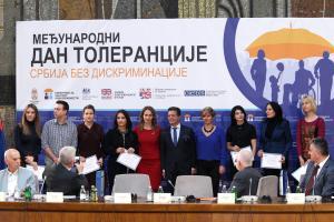 Winners of 2018 Journalism Award for Tolerance, Belgrade, Palace of Serbia, 19 November 2018. (OSCE/Milan Obradovic)