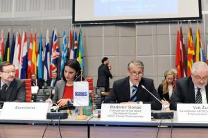 Ambassador Radomír Boháč, Chairperson of the OSCE Permanent Council, speaking at the First Preparatory Meeting of the 27th OSCE Economic and Environmental Forum, Vienna, 28 January 2019.  (OSCE/Micky Kroell)
