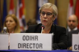 Ingibjörg Sólrún Gísladóttir, Director of the OSCE Office for Democratic Institutions and Human Rights, opens the 2017 Human Dimension Implementation Meeting in Warsaw, 11 September 2017. (OSCE/Piotr Dziubak)