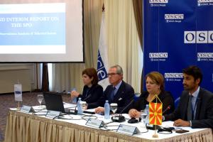 Ambassador Koja (centre-left),Head of OSCE Mission to Skopje, addressing the presentation of Mission's second interim report on cases and activities of the Special Prosecutor's Office, Skopje, 12 June 2019. (OSCE/Riste Zmejkoski)