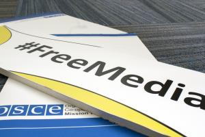 The OSCE Mission's to BiH official hashtag promoting freedom of the media. (OSCE/Vedran Prilbilovic)