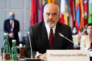 OSCE Chairperson-in-Office, Albania's Prime Minister and Minister for Europe and Foreign Affairs, Edi Rama, addresses the OSCE Permanent Council, Vienna, 28 August 2020. (OSCE/Ghada Hazim)