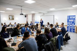 Claus Neukirch, Head of the Mission, told participants that the Model OSCE for Youth can also serve as a launching pad in their future diplomatic careers, Vadul-lui-Voda, Moldova, 26 September 2019.   (OSCE/Igor Schimbator)