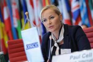 General Jana Maškarová, First Vice-President of Slovakia's Police Force, opens the 2019 OSCE Annual Police Experts Meeting on Artificial Intelligence and Law Enforcement, Vienna, 23 September 2019. (OSCE/Micky Kroell)