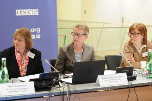 (l-r) Sheri Rosenow, World Trade Organization, Violane Konar-Leacy, International Finance Corporation, and Gordana Tosheva, USAID Skopje, during the Concluding Event on Promoting Economic Connectivity in the OSCE, Vienna, 26 March 2019. 