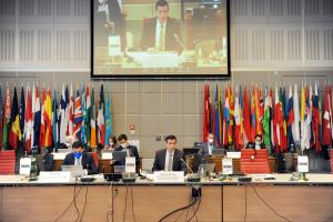 OSCE Special Representative Valiant Richey at the 21st OSCE Alliance Conference against Trafficking in Persons, 14 June 2021, Vienna. (OSCE)