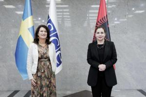 OSCE Chairperson-in-Office, Swedish Minister for Foreign Affairs Ann Linde, and Albania's Foreign Affairs Minister Olta Xhacka, Tirana, 5 October 2021. (Mrinë Godanca)