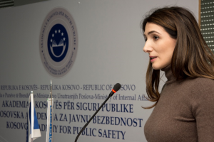 Shqipe Mjekiqi, advisor to the Minister of Internal Affairs, addressing participants marking the International Women's Day, Vushtrri/Vučitrn, 8 March 2017 (OSCE/Yllka Fetahaj)