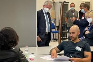 Secretary General Helga Maria Schmid at the OSCE simulation-based exercise for anti-trafficking practitioners across the OSCE region concluded,  Vicenza, 1 October 2021.  (OSCE)