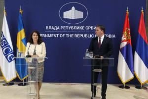 OSCE Chairperson-in-Office, Swedish Minister for Foreign Affairs Ann Linde and Serbia's Foreign Affairs Minister Nikola Selaković, 24 May 2021, Belgrade.  (OSCE/Milan Obradovic)