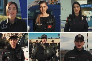 """OSCE Mission to Montenegro produced six videos as part of the """"We are the power of the team — For more women in policing"""" campaign, promoting women as police officers and showing how a career as a police officer can be an attractive employment opportunity for women. (OSCE/Screenshot)"""