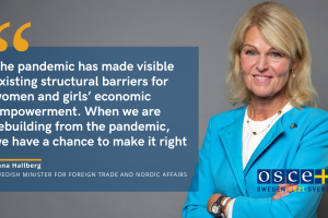 Swedish Minister for Foreign Trade and Nordic Affairs Anna Hallberg, 2nd Preparatory meeting of the OSCE Economic and Environmental Forum, 10 June 2021.  (OSCE Chairpersonship)