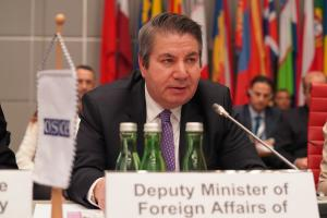 Turkey's Deputy Minister of Foreign Affairs, Sedat Önal, opens Turkey's Chairmanship of the OSCE Forum for Security Co-operation, Vienna, 15 January 2020. (OSCE/Ghada Hazim )