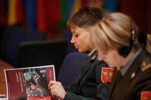 Moldovan Army Lieutenant Colonel Olga Scripovscaia at the first training seminar on UN Security Council Resolution 1325 on Women, Peace and Security held by the OSCE Mission to Moldova and ODIHR, Chişinău, 8 December 2011.  (OSCE/Igor Schimbător)