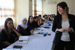 Meruert Kazbekova, Parliament Member and Women Entrepreneurs' Union Chair, meeting women from rural areas of Akmola region and discussing challenges of entrepreneurship in the villages, Shortandy, 30 March 2017. (OSCE/Aigul Zharas)