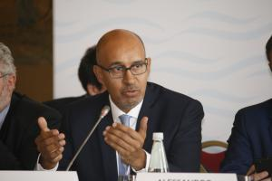 OSCE Representative on Freedom of the Media Harlem Désir speaking at the OSCE Mediterranean Conference, 25 October 2017, Palermo.  (OSCE/Mersiha Causevic-Podzic)