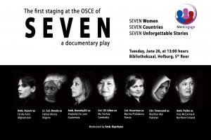 Flyer for the staging of the documentary play SEVEN at the OSCE (OSCE)
