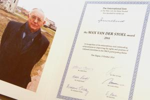 The Max van der Stoel Award is presented every two years. In 2018, it will be awarded for the eighth time. The 2014 award went to the non-governmental organization Spravedlivost from Kyrgyzstan, The Hague, 2 October 2014. (OSCE/Arnaud Roelofsz )