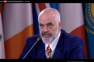 OSCE Chairperson-in-Office, Albania's Prime Minister and Minister for Europe and Foreign Affairs, Edi Rama, addresses the 2020 OSCE Ministerial Council, Tirana, 3 December 2020. (Albanian MFA)