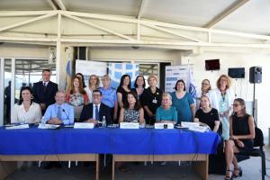 OSCE Chairperson-in-Office Ann Linde and Head of the OSCE Mission in Kosovo, Ambassador Michael Davenport, at a Mission-hosted event on Women, Peace and Security at the local level, Gjilan/Gnjilane, 8 July 2021.  (Yllka Fetahaj/OSCE Mission in Kosovo)