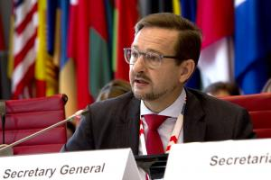 Thomas Greminger, OSCE Secretary General speaking at a meeting of the Permanent Council, Vienna, 31 August 2017. (OSCE)
