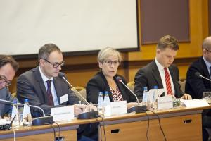 Ingibjörg Sólrún Gísladóttir, Director of the OSCE Office for Democratic Institutions and Human Rights, speaking at an expert meeting held within the framework of an ODIHR project to support elections in the Western Balkans, 8 September 2017, Warsaw. (Ewa Jasińska)