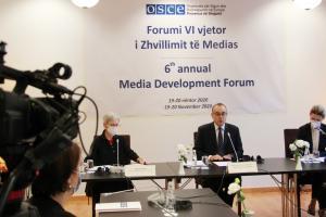 Vincenzo Del Monaco (centre), Head of the OSCE Presence in Albania, addresses the sixth annual Media Development Forum organized by the Presence, TIrana, 19 November 2020.  (OSCE/Joana Karapataqi)