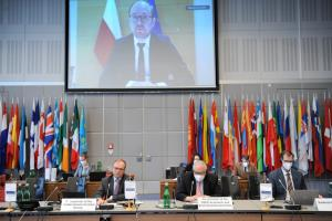 Marcin Przydacz, Deputy Minister of Foreign Affairs of Poland, addressing at OSCE Mediterranean Partnership of Co-operation Group meeting, under the Polish Chairmanship, 15 March 2021, Vienna/Online. (OSCE/Micky Kroell)