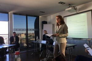 Julia Rutz, OSCE Senior Adviser moderating the debate in Belgrade, 27 September 2019.  (OSCE/Teresa Gil Ricol)