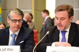 Ambassador Radomír Boháč, Chairperson of the Forum for Security Co-operation and Slovakia's Permanent Representative to the OSCE (l), and Ambassador Alessandro Azzoni, Chairperson of the OSCE Permanent Council and Italy's Permanent Representative to the OSCE at the joint meeting of the Forum for Security Co-operation and the Permanent Council, Vienna, 14 February 2018.  (OSCE/GHazim)