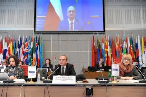 Piotr Wawrzyk, Deputy Foreign Minister of Poland, addressing at the OSCE 2021 Mediterranean Partners Conference, 12 October 2021, Vienna. (OSCE)