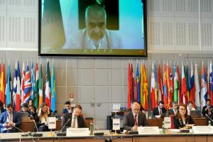Edi Rama, OSCE Chairperson-in-Office, Prime Minister and Minister for Europe and Foreign Affairs of Albania, addresses the high-level conference on Good Governance and the Fight Against Corruption in the Digital Era, 6 July 2020.  (OSCE/Micky Kroell)