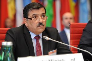 Zohir Saidzoda, Deputy Foreign Minister of Tajikistan, addresses the OSCE Forum for Security Co-operation, Vienna, 8 May 2019. (OSCE/Micky Kroell)