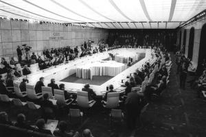 One of OSCE's fundamental documents, the Charter of Paris, was signed on 21 November 1990 at the Second CSCE Summit. (Ministry of Foreign Affairs of France/Frédéric de la Mure)