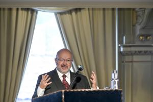 Lamberto Zannier, OSCE High Commissioner on National Minorities, opens the Conference marking the 20th anniversary of The Lund Recommendations on the Effective Participation of National Minorities in Public Life, Lund,14 November 2019. (Kennet Ruona )