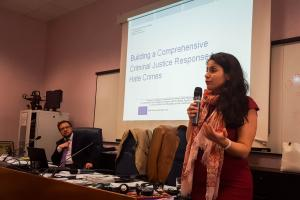Maria Theresa Verdugo Moreno, Special Prosecutor for Hate Crimes in Málaga, Spain, addressing participants in a workshop on combating hate crime co-organized by OSCE/ODIHR, Milan, 19 May 2017.  (OSCE/Tome Shekerdjiev)
