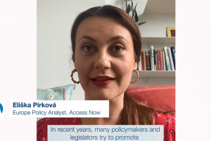 Eliška Pírková, Europe Policy Analyst at Access Now, is a human rights and policy expert. In her work, she focuses on online free speech and content regulation, as well as intermediary liability and the impact of artificial intelligence (AI) on fundamental rights. During the COVID-19 pandemic, she has worked on recommendations on how to defend free expression while fighting misinformation. Ms. Pírková is one of the experts of the RFoM project on the impact of AI on freedom of expression. In this video, she explains how the impact of AI on free speech becomes even more visible during the COVID-19 pandemic. (OSCE)