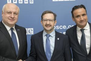OSCE Parliamentary Assembly President George Tsereteli (l-r), with OSCE Secretary General Thomas Greminger and OSCE Parliamentary Assembly Secretary General Roberto Montella, Vienna, 6 December 2017. (OSCE/MRodgers)