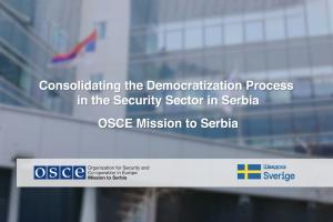 "Thumbnail for the video ""Consolidating the Democratization Process in the Security Sector in Serbia""
