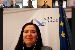 "Ambassador Anke Holstein, German Embassy in Skopje, addressing the online workshop ""Addressing Organized Crime and Corruption through the Re-use of Confiscated Criminal Assets"", 10 December 2020. (OSCE)"