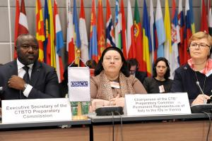 Dr. Lassina Zerbo (l-r), Executive Secretary of the Preparatory Commission for the Comprehensive Nuclear-Test-Ban Treaty Organization (CTBTO), H. E. Ambassador Maria Assunta Accili Sabbatini, Chairperson of the CTBTO Preparatory Commission, and Marta Žiaková, Chairperson of the Nuclear Regulatory Authority of Slovakia at the meeting of the Forum for Security Co-operation, Vienna, 7 February 2018.  (OSCE/Mkroell)