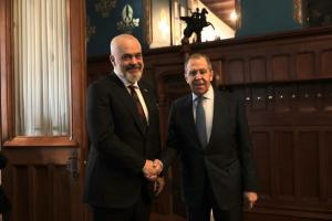 OSCE Chairperson-in-Office, Albania's Prime Minister and Minister for Europe and Foreign Affairs, Edi Rama (l) meets Minister of Foreign Affairs of the Russian Federation, Sergey Lavrov, Moscow, 26 February 2020. (OSCE)