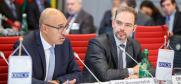 OSCE Representative on Freedom of the Media Harlem Désir (l) reporting to Permanent Council, Vienna, 9 November 2017.  (OSCE/Salko Agovic)