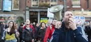 A man with a megaphone leads a protest in central Dublin, 12 November 2011. The right to freedom of peaceful assembly is intrinsic to any democratic society, and the basis for good and accountable governance. (iStockphoto)