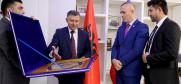 Colonel-General Rajabali Rahmonali presenting a national souvenir to Ardi Veliu, the General Director of the Albanian State Police, Tirana, 26 March 2018.  (OSCE)