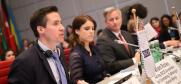 (L-r) Valiant Richey, OSCE Acting Co-ordinator for Combating Trafficking in Human Beings, Princess Eugenie of York, and John Cotton Richmond, US Ambassador-at-Large for Combating Human Trafficking, addressing the opening of the 19th Alliance against Trafficking in Persons conference, Vienna, 8 April 2019. (OSCE/Lucia Carmona)