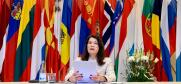 OSCE Chairperson-in-Office and Minister for Foreign Affairs of Sweden Ann Linde addresses the OSCE Permanent Council, 14 January 2021.  (OSCE/MFA Sweden )