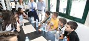 Ambassador Andrea Orizio, the Head of the OSCE Mission to Serbia, discusses  students' impressions: for some of them it is the first visit to Belgrade, for many more the first time ever on a boat, Belgrade, 26 June 2019.
