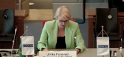 Ulrika Funered, Permanent Representative of Sweden to the OSCE, Chairperson of the OSCE Permanent Council, delivering her welcome address, 1 June 2021. (OSCE)