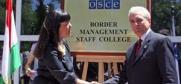 Chairperson of the OSCE Permanent Council, Ambassador Mara Marinaki (left), and Hamrokhon Zarifi, Tajik Foreign Minister, at the launch ceremony of the OSCE Border Management Staff College, Dushanbe, 27 May 2009. (OSCE/Firuza Gulomaseinova)